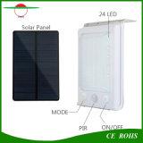 갱신 새로운 24LED PIR 센서 태양 벽 빛 높은 루멘 288lm 지능적인 태양 정원 램프 옥외 점화