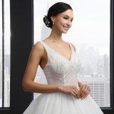 Vestido de casamento de perolização Backless da V-Garganta (SL-042)
