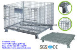 Foladable & recipiente Stackable da pálete do engranzamento de fio para o armazenamento do armazém