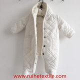 Romper acolchoado tecido branco do inverno, Jumpsuit da neve para bebês