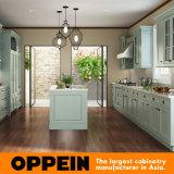 Armário de cozinha luxuoso do PVC da galera verde moderna de Oppein (OP15-PVC03)