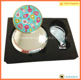 Cadeaux de vacances portatifs de miroir de contrat de renivellement de mode et de coupe-ongles (JINJU16-068)