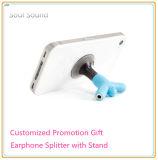 Presentes relativos à promoção personalizados da cor do logotipo para o carrinho do telefone do divisor do fone de ouvido (ID381)