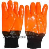 Hi-Viz перчатка работы безопасности померанцовых перчаток PVC En511 железнодорожная