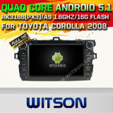 Carro DVD GPS do Android 5.1 de Witson para Toyota Corolla 2008 com sustentação do Internet DVR da ROM WiFi 3G do chipset 1080P 16g (A5749)