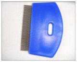 Peine plástico de los piojos de la pulga de la preparación del animal doméstico de la manija
