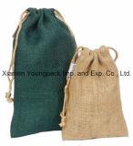 형식 주문 큰 Eco-Friendly 재사용할 수 있는 자연 적이고 및 까만 황마 쇼핑 끈달린 가방