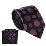 Cravate de logo de POINT pourpre en soie de luxe et ensemble faits sur commande de mouchoir