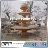 Colore rosso/Yellow Marble Carved Stone Water Fountain per il giardino Surroudings Decoration