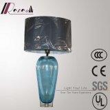 Hotel Decorativo Dupion Silk Bedside, lâmpada de mesa de aço inoxidável
