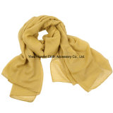 Madame Fashion Voile Cotton Scarf avec Solid Colorful