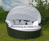 Hc-W-Lb11 고리 버들 세공 둥근 침대 옥외 등나무 침대