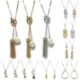 보석 목걸이는 모조 진주 신부 형식 보석 목걸이가 925 순은 보석 사슬 금 목걸이를 놓은 수정같은 펀던트 목걸이 여자를 구슬로 장식했다