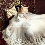 Spitze-blüht Brautballkleider Tulle den Luxus, der Hochzeits-Kleider Z9027 bördelt