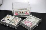 Caixa de indicador acrílica da jóia com 3 gavetas & bandejas de veludo