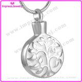Hängender Halsketten-Baum der runden Verbrennung-Ijd8126 und Blatt gravierter Edelstahl-Aschen-Speicher-Halter