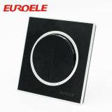 interruptor redondo de la pared de la placa de la cuadrilla de acrílico del negro 2