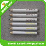 Lápis curto redondo roxo com uma cor de logotipo de impressão