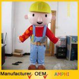 Bob il costume della peluche del fumetto della mascotte del costruttore