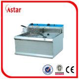 La doppia friggitrice dei pesci del piano d'appoggio del serbatoio per il negozio dello spuntino, scheggia la buona qualità della friggitrice profonda elettrica