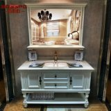 白い壁はハングさせたミラー(GSP9-002)が付いている木製の浴室用キャビネットを