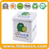 مربّعة هبة قصدير صندوق مع تصميم جديد, معدن قصدير وعاء صندوق