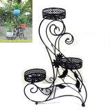 Crémaillère noire au sol décorative de Flowerpot en métal 3 de décoration de jardin