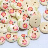 花の印刷の2つの穴が付いている木製のシャツのボタン