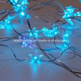 Quirlande électrique de fil d'argent d'en cuivre de forme d'étoile de bleu glacier pour des décorations de Noël