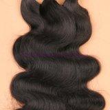 8A 100%の人体の波の束が付いている2/3束の絹の基礎正面閉鎖が付いているインドのバージンの人間の毛髪の絹の基礎Frontal
