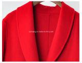 Cappotto di polvere lungo di lana della donna rossa