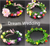 도매 다채로운 신부 들러리 정원 옥외 결혼식 투구 화환