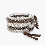 Pulseras de la perla de la imitación cristalina de la manera para las mujeres pulseras y brazaletes anchos de la capa multi Pulseras Mujer