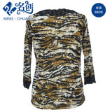 Ejército-Verde en Negro suave encaje de manga larga de la blusa floja manera de las señoras