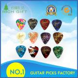 Nylon en gros fait sur commande de celluloïde/sélections électriques/en bois/inoxidables de guitare de Steel/POM/Thumb avec de doubles côtés estampés par logo coloré