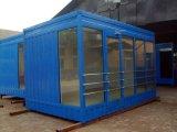 Casas de aço claras pré-fabricadas do recipiente do telhado liso