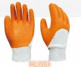 poliester 13G/guante de nylon de la arruga de la onda del látex