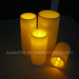 "8 ""Long Ivory Pillar Flameless Home Decorativo Realista Flickering Dinner Candle Lights"