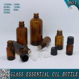 Vollständiges Set-bernsteinfarbige wesentliches Öl-Glasflasche mit Kind-Beweis-Schwarz-Plastikschutzkappe