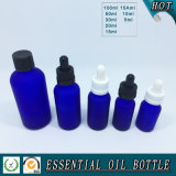 Acid Etch Frosted Cobalt Blue Glass Essential Oil Bottle