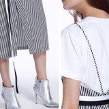 Form-Frauen-Freizeit V-Stutzen Streifen-Schlitz-Verband-Kleidung-Beleg-Kleid