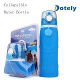 Botella de agua plegable del silicón con los casquillos de la prueba del escape