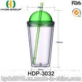 16oz BPA geben Plastiksaft-trinkende Trommel mit Stroh frei (HDP-3032)