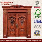 Porte d'entrée en bois découpée par antiquité de luxe de lame de la porte quatre (XS1-018)