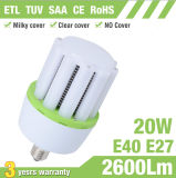 20W E27 E40 aleta de aluminio LED luz de maíz