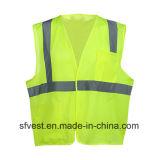 Workwear 100% тельняшки сетки безопасности полиэфира отражательный с одним карманн