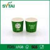 Tazza di tè di carta doppia verde a gettare stampata marchio