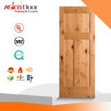 Brame en bois plaquée de porte de dispositif trembleur de chêne rouge de faisceau en bois solide de 3 panneaux