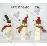 Bonhomme de neige Gift-3asst de Santa de traîneau de Noël de Metal+Wood