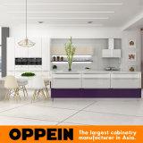 Gabinete de cozinha de madeira lacada moderno com mesa de jantar (OP16-L10)